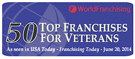 World Franchising Top 50 Franchises for Veterans badge