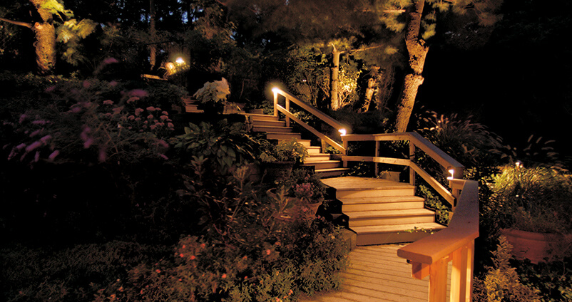 Outdoor Lighting Perspectives project well lit deck and stairs